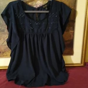 Jessica Simpson Navy Blue Embroidered Blouse